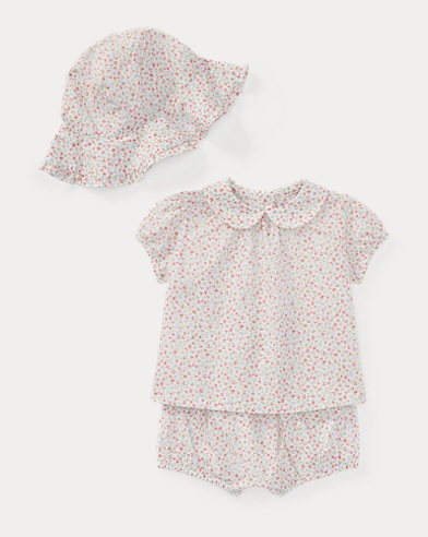 Floral Top, Bloomer & Hat Set