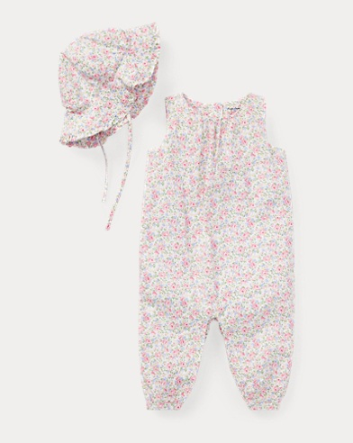Floral Coverall & Hat Set