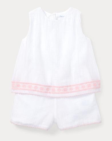 Embroidered Cotton Romper