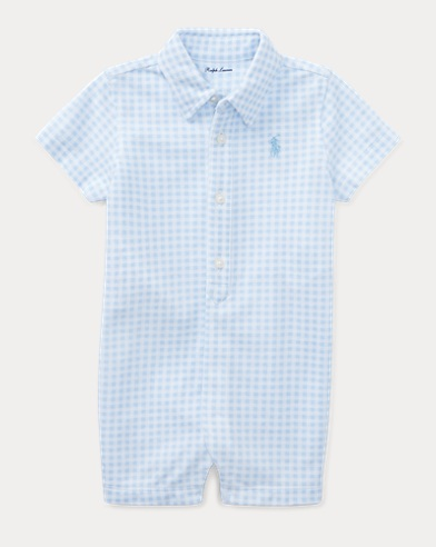 Gingham Cotton Mesh Shortall