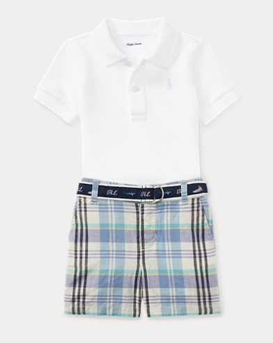 Polo, Belt & Madras Short Set