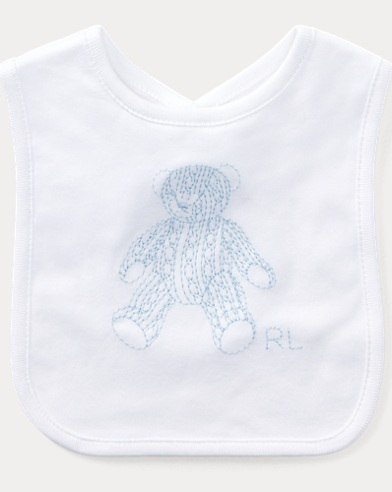 Embroidered Bear Cotton Bib