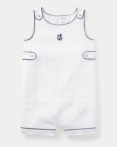 Embroidered Linen Shortall