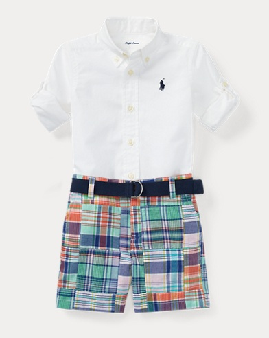Shirt, Belt & Madras Short Set