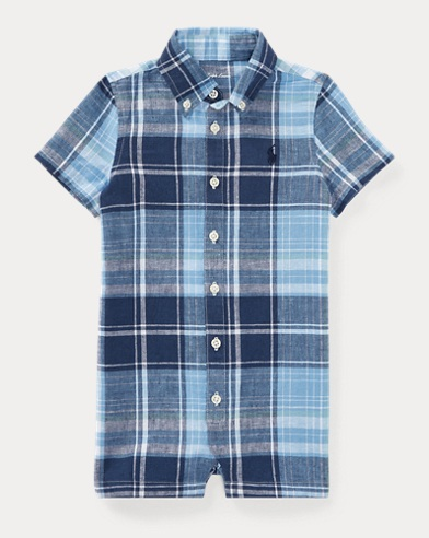 Plaid Linen-Cotton Shortall