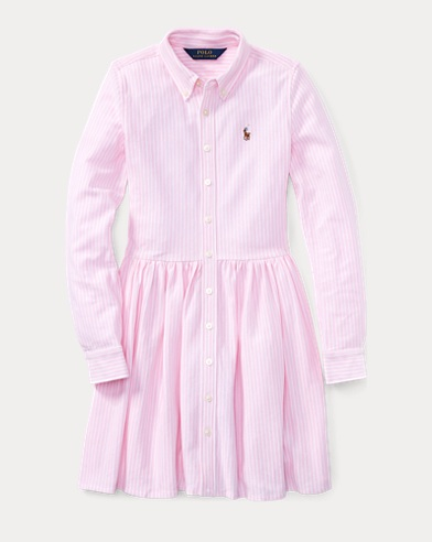 Striped Knit Oxford Shirtdress