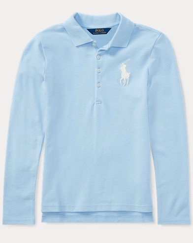 Big Pony Mesh Long-Sleeve Polo