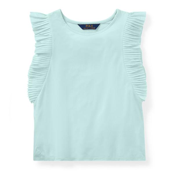 Ralph Lauren Flutter-Sleeve Jersey Top Crystal Blue S