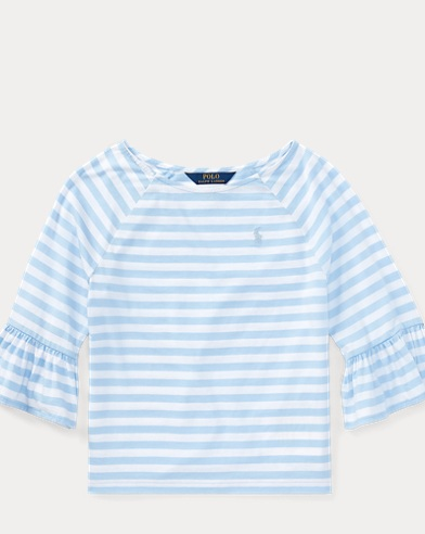 Stripe Jersey Bell-Sleeve Top