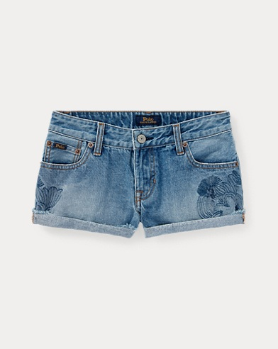Floral-Embroidered Denim Short