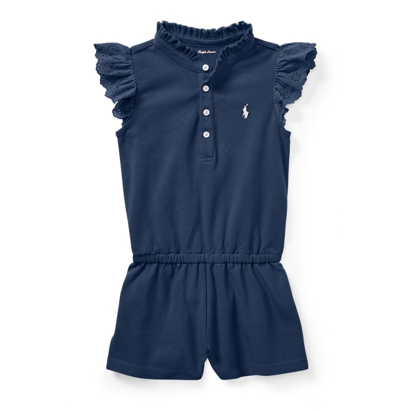 Ralph Lauren Cotton Flutter-Sleeve Romper Summer Navy 3M