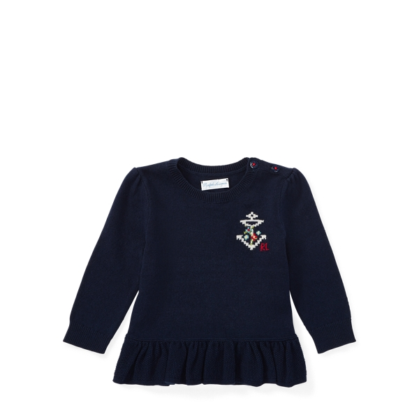 Ralph Lauren Cotton-Cashmere Peplum Sweater Hunter Navy 6M