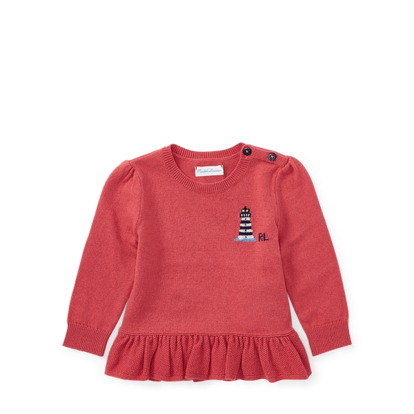 Ralph Lauren Cotton-Cashmere Peplum Sweater Nantucket Red 3M