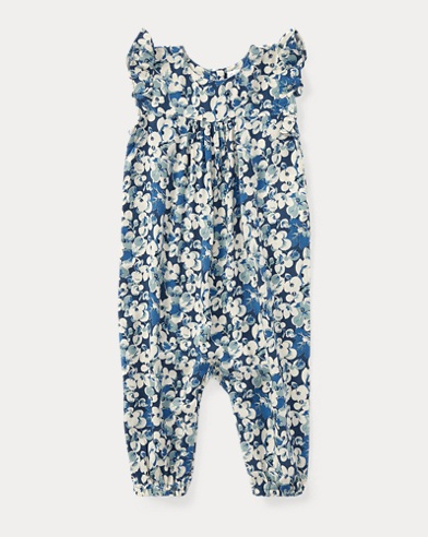 Floral Flutter-Sleeve Coverall