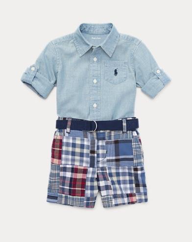 Shirt, Belt & Madras Short Set