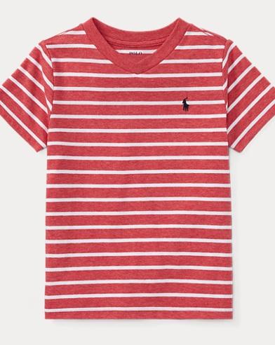 Striped Jersey V-Neck T-Shirt