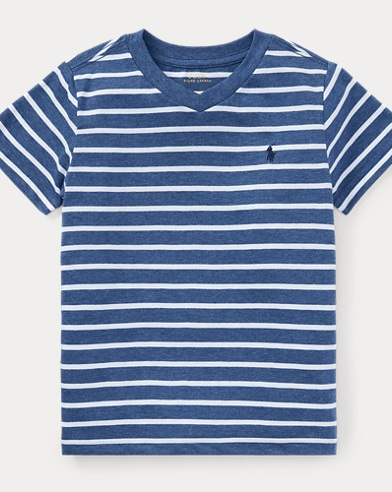 Striped Jersey V-Neck T-Shirt