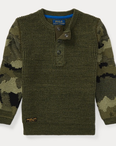 Camo-Sleeve Cotton Sweater
