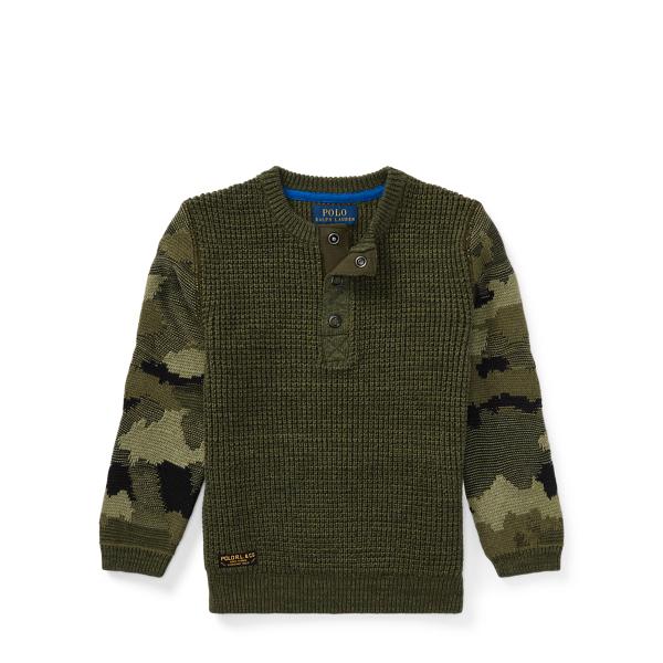 Ralph Lauren Camo-Sleeve Cotton Sweater Camo Multi 3T