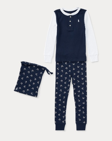 Marlin-Print Cotton Pajama Set