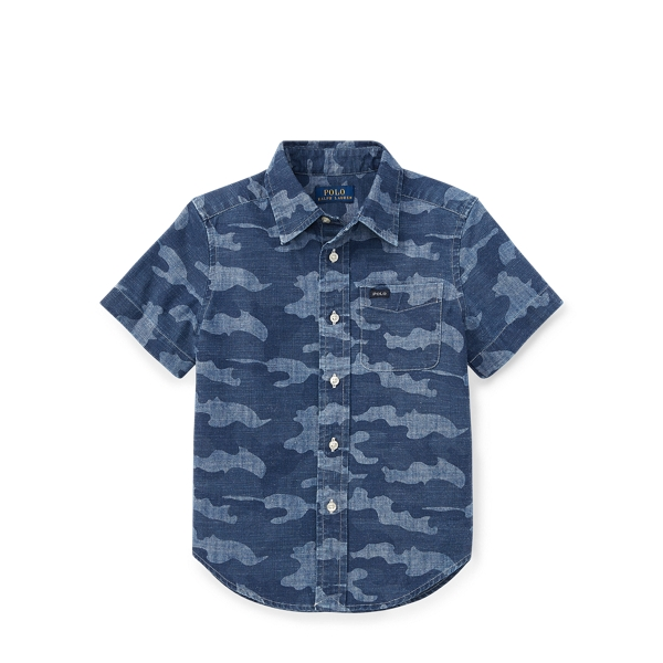 Ralph Lauren Camo Cotton Chambray Shirt Camo 4T