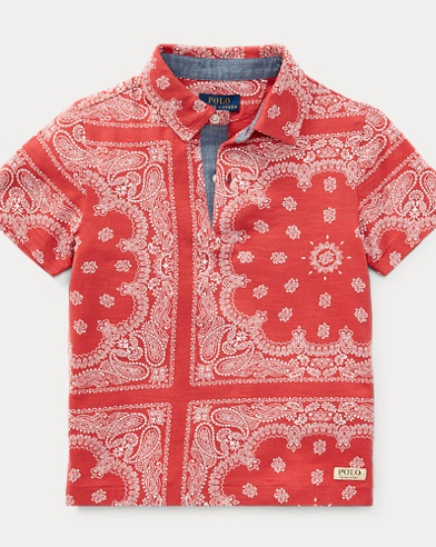 Bandanna-Print Cotton Polo