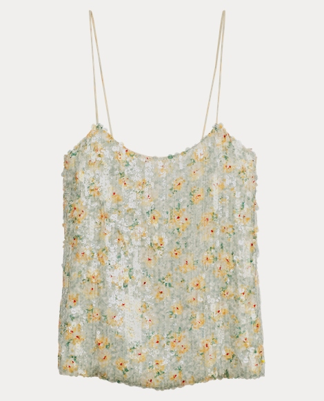 Sequined Floral Silk Camisole