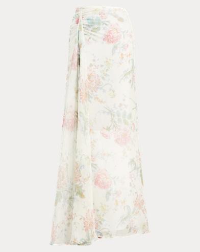 Victoria Floral Silk Skirt