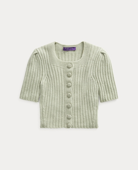 Ribbed Cashmere-Linen Cardigan
