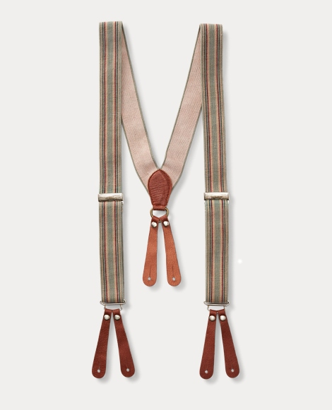 Striped Leather-Trim Suspender