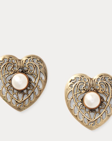 Filigree Heart Stud Earrings