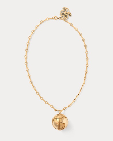 Brass Globe Pendant Necklace