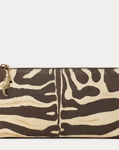 Zebra-Print Suede Pouch