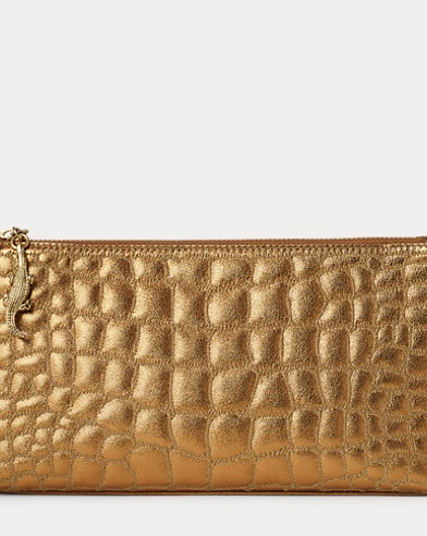 Embossed Nappa Leather Pouch