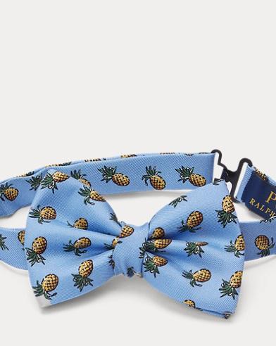 Pineapple-Print Silk Bow Tie