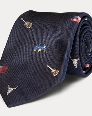 Americana Silk Repp Narrow Tie