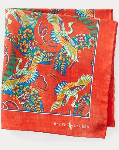 Crane-Print Silk Pocket Square