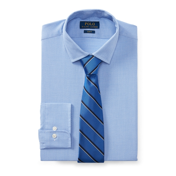 Ralph Lauren Slim Fit Patterned Dobby Shirt 2290 Azure/White 16