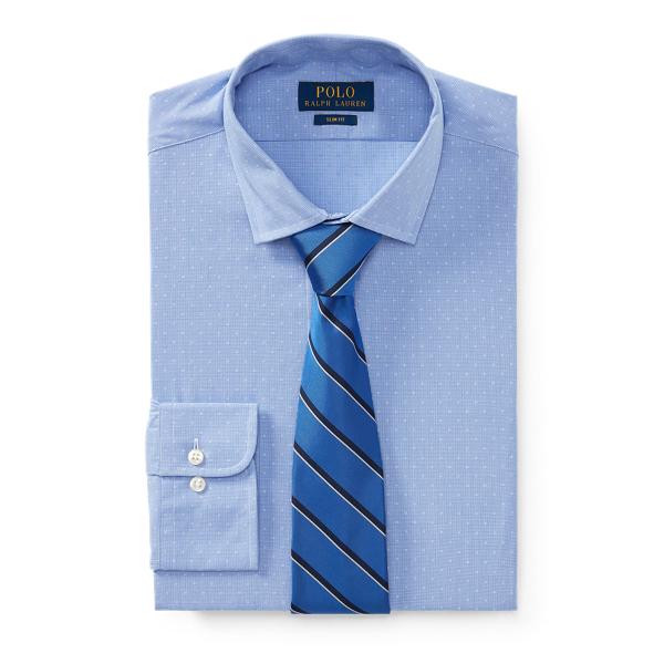 Ralph Lauren Slim Fit Patterned Dobby Shirt 2291 Sky Blue/White 18