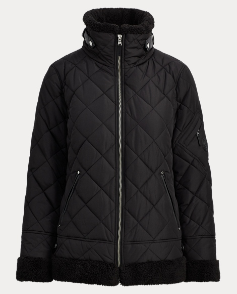 Faux-Shearling-Trim Jacket