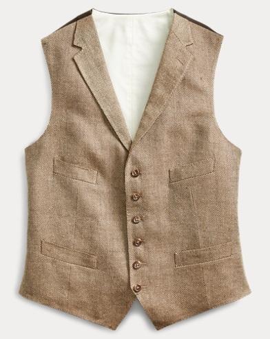 Basket-Weave Linen-Silk Vest