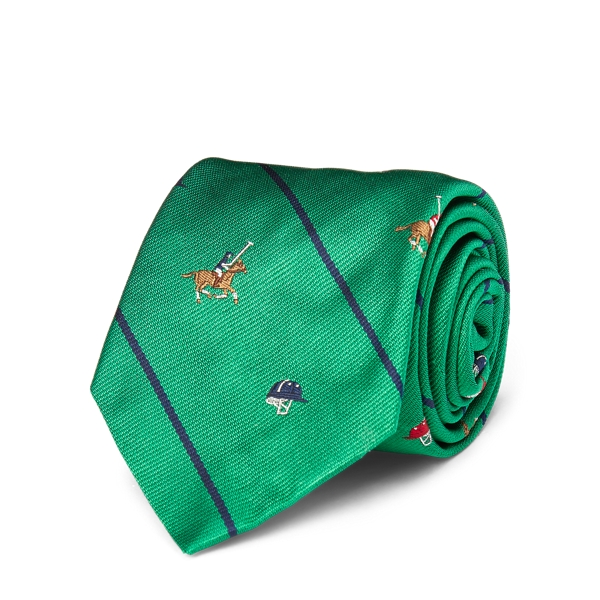 Ralph Lauren Polo Striped Silk Repp Tie Green One Size