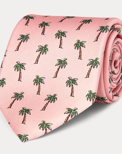 Palm Tree Silk Narrow Tie