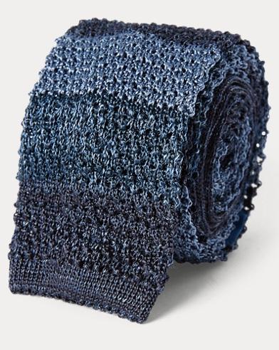 Striped Knit Silk-Linen Tie