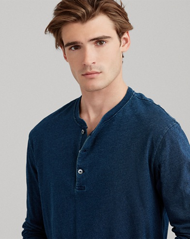 Indigo-Dyed Cotton Henley