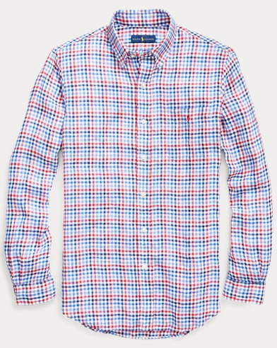 Classic Fit Plaid Linen Shirt