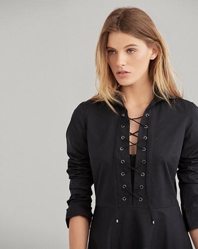 Lace-Up Cotton Shirtdress