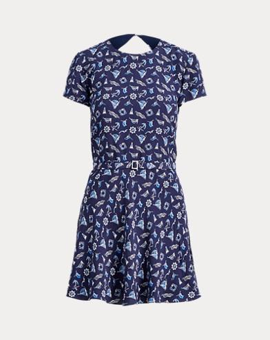 Print Crepe Open-Back Dress