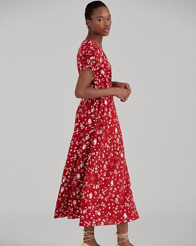 Print Crepe Wrap Dress