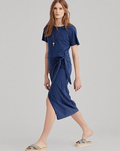 Side-Tie Jersey Maxidress